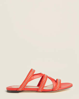 Alexander McQueen Red Caged Leather Slide Sandals