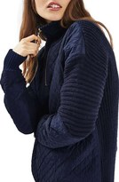 Topshop Women's Quilted Quarter Zip Sweater