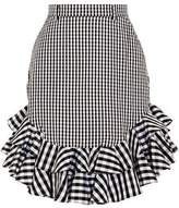 House of Holland Ruffled Gingham Cotton-Poplin Mini Skirt