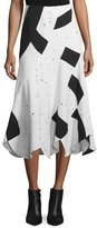 Derek Lam Woven Patchwork Midi Skirt, Black/White