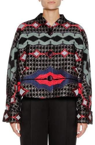 Giorgio Armani Multicolor Embroidered Artisan Short Caban Jacket