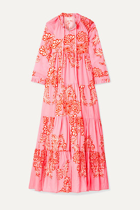 Eywasouls Malibu Cora Tiered Floral-print Cotton-voile Maxi Dress - Pink