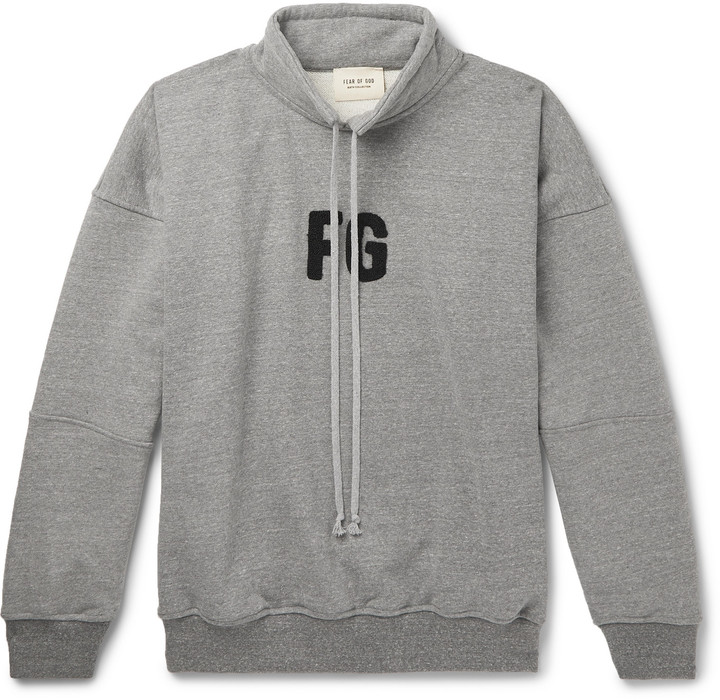 Fear Of God Oversized Logo-Appliqued Loopback Cotton-Blend Jersey Sweatshirt - Men - Gray