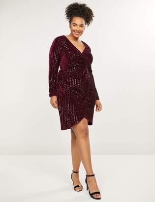 Lane Bryant Velvet Sequin Faux-Wrap Dress