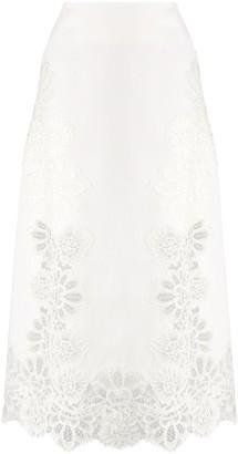 Ermanno Scervino Lace-Trimmed Midi Skirt