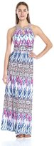 London Times L1827M Printed Halter Jersey Sheath Dress