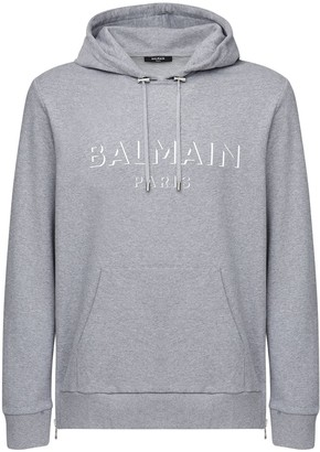 Balmain 3d Logo Print Cotton Jersey Hoodie