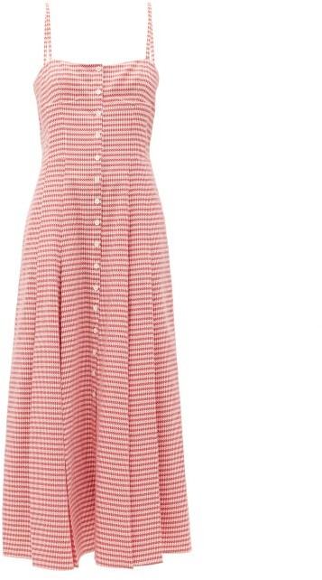 Gabriela Hearst Prudence Houndstooth Cotton Dress - Red White
