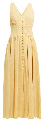 Cult Gaia Angela V-neck Buttoned Cotton-blend Dress - Light Yellow