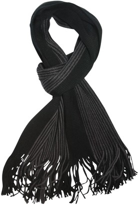 Marco Collection Mens Luxury Ribbed Striped Winter Scarf Scarves in Black