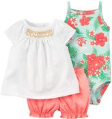 Carter's Baby Girl Smocked Top, Bodysuit & Bubble Shorts Set
