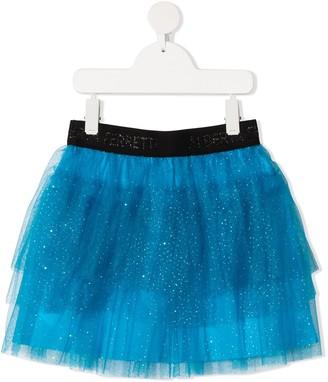 Alberta Ferretti Kids Glitter Tulle Layered Skirt