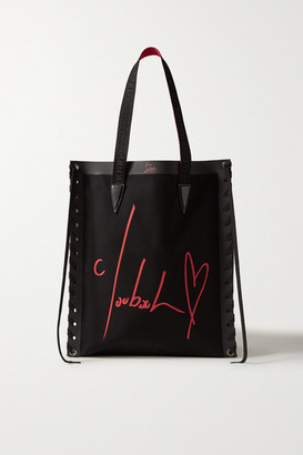 Christian Louboutin Cabalace Lace-up Leather-trimmed Printed Canvas Tote - Black