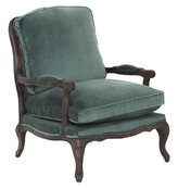 The Well Appointed House Hampshire Arm Chair with Green Velvet Upholstery