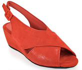Pas De Rouge E937 Color - Wedge Sandal in Red Suede