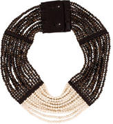 Brunello Cucinelli Bronzite & Agate Multistrand Collar Necklace