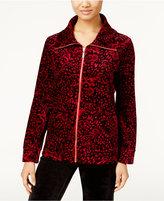 Karen Scott Petite Printed Velour Jacket, Only at Macy's