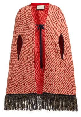 Gucci Fringed Gg-jacquard Wool Cape - Womens - Red