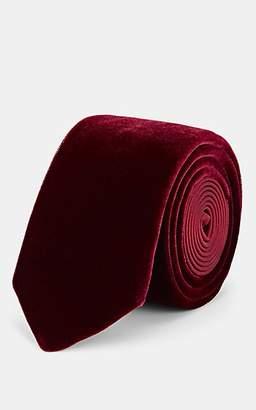Lanvin Men's Velvet & Silk Satin Necktie - Wine