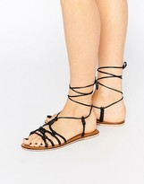 Asos FRILL Leather Knotted Tie Leg Sandals