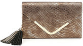 Kate Landry Metallic Tassel Snake-Print Envelope Clutch