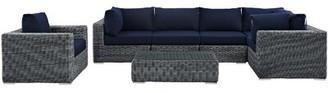 Modway Summon 7 Piece Rattan Sunbrella Sectional Set with Cushions Fabric: Navy