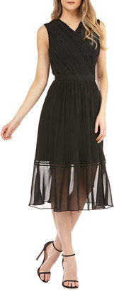 Kay Unger Pleated Chiffon Faux Wrap Cocktail Dress