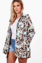 Boohoo Plus Felicity Floral Print Hooded Mac mint