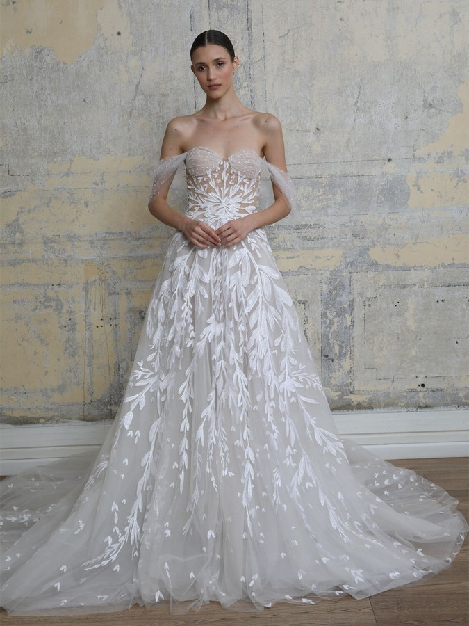 GEORGES HOBEIKA EMBROIDERED TULLE OFF-THE-SHOULDER DRESS