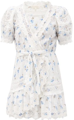 LoveShackFancy Belen V-neck Floral-print Cotton-voile Wrap Dress - White Multi