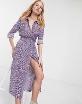 And other stories & printed button through belted shirt dress in lilac