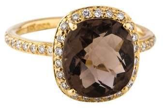 Rina Limor Fine Jewelry 18K Smoky Quartz & Diamond Halo Ring