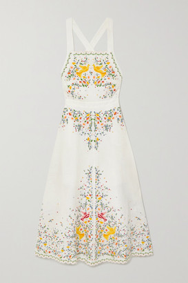 Zimmermann Carnaby Embroidered Linen Midi Dress - Ivory