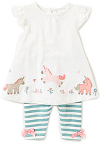 Starting Out Baby Girls 3-24 Months Flutter-Sleeve Unicorn Top & Striped Leggings Set