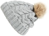 BP Women's Knit Beanie With Faux Fur Pompom - Grey