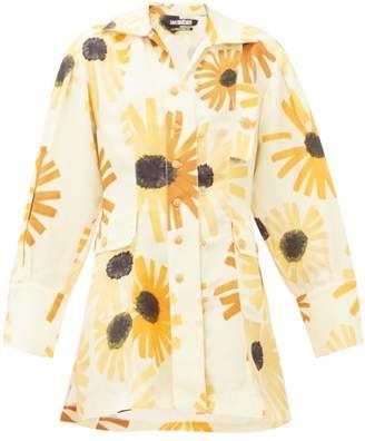 Jacquemus Roman Sunflower Print Cotton Blend Mini Shirtdress - Womens - Yellow Multi