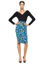 Milly Jewel Print Side Slit Pencil Skirt