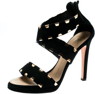 Giuseppe Zanotti Black Suede Cross Ankle Strap Sandals Size 38.5