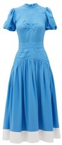 No.21 No. 21 - Gathered Dropped-waist Crepe Midi Dress - Womens - Blue