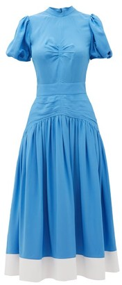 No.21 No. 21 - Gathered Dropped-waist Crepe Midi Dress - Womens - Blue