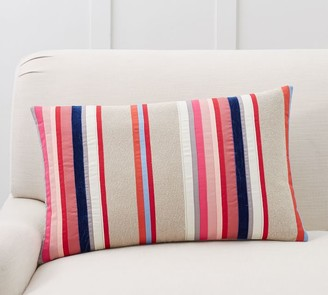 Pottery Barn Striped Velvet Ribbon Lumbar Pillow Cover
