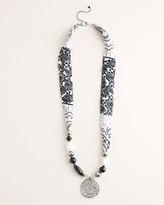 Chico's Chicos Black and White Printed Scarf Pendant Necklace