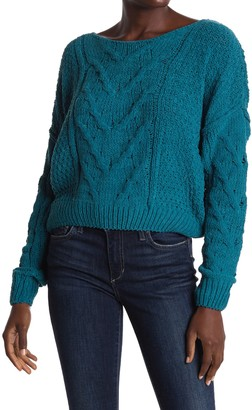 Woven Heart Cable Knit Chenille Sweater