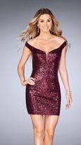 La Femme 25085 Short Sequin Off-the-Shoulder Homecoming Dress