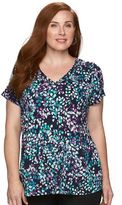 Croft & Barrow Plus Size Printed V-Neck Tee