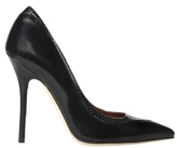 Malone Souliers Emanuelle Heel in Black Nappa and Charcoal Elaphe