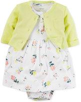 Carter's Baby Girls' 2-Pc. Cardigan & Floral-Print Dress Set