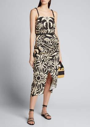 Johanna Ortiz Palm Print Linen Spaghetti-Strap Square-Neck Dress
