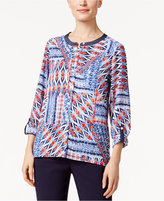 Alfred Dunner Uptown Girl Printed Roll-Tab Shirt