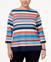 Charter Club Plus Size Striped Boat-Neck Top, Only at Macy's